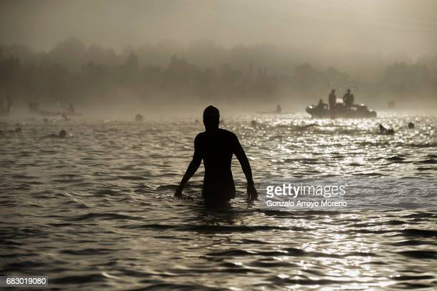 Athletes warm up prior to start the Ironman 703 Pays d'Aix swimming course on May 14 2017 at Lake Peyrolles France