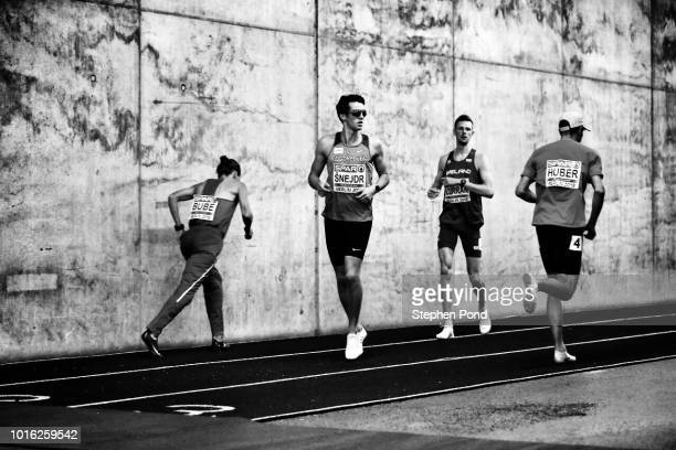 Athletes warm up prior to their event during day three of the 24th European Athletics Championships at Olympiastadion on August 9 2018 in Berlin...
