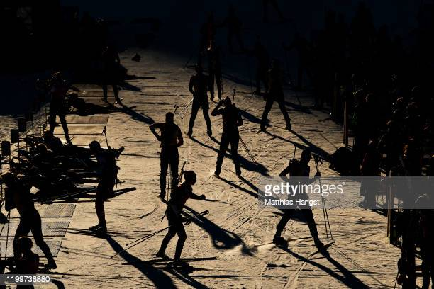 Athletes warm up shooting prior to Mixed Relay in biathlon during day 6 of the Lausanne 2020 Winter Youth Olympics at Les Tuffes Nordic Centre on...