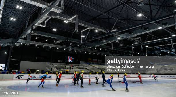 Athletes warmup during the World Junior Short Track Speed Skating Championships Day 1 at Arena Lodowa on March 3 2018 in Tomaszow Mazowiecki Poland