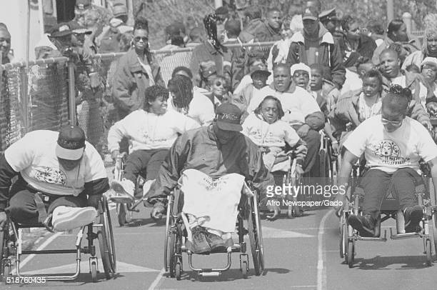 Athletes with wheelchair during the Special Olympics Maryland 1995