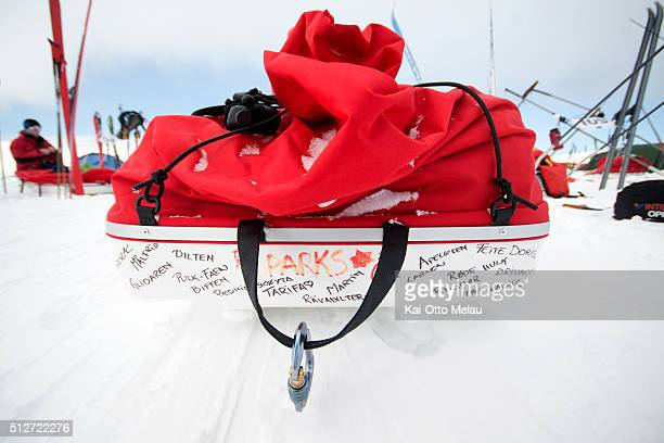 Athletes write names or motivational quotes on their sled during Expedition Amundsen on February 27 2016 in Eidfjord Norway Expedition Amundsen is...