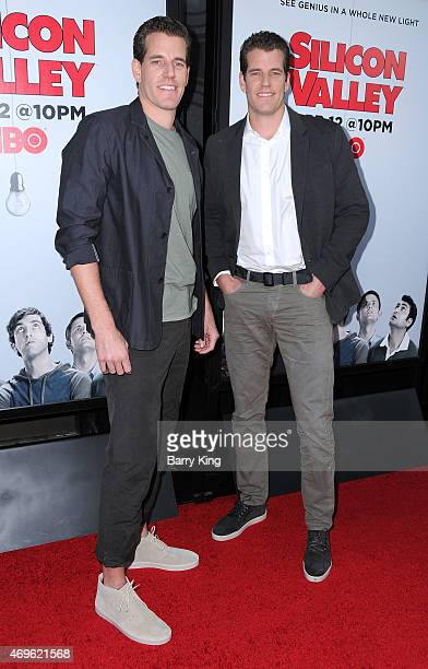 Athletes/entrepreneurs Cameron Winklevoss and Tyler Winklevoss attend the HBO 'Silicon Valley' season 2 premiere at the El Capitan Theatre on April 2...