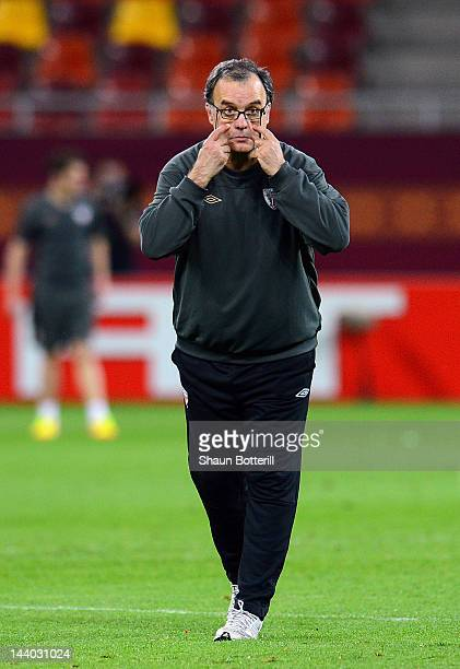 Athletic Bilbao coach Marcelo Bielsa gives instructions during the Athletic Bilbao training session ahead of the UEFA Europa League Final between...
