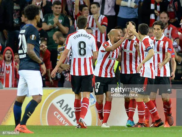 Athletic Bilbao players celebrate their second goal during the Europa League football match Athletic Club Bilbao vs Hertha BSC Berlin at the San...