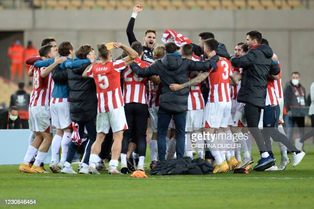 Athletic Bilbao players celebrate their victory after winning the Spanish Super Cup final football match between FC Barcelona and Athletic Club...