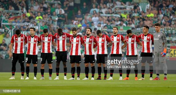 Unai Simon of Athletic Club reacts during the La Liga match between Real Betis Balompie and Athletic Club at Estadio Benito Villamarin on September...