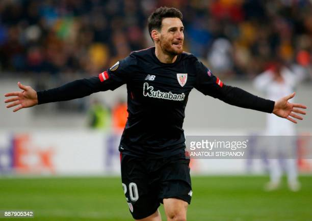 Athletic Bilbao's Aritz Aduriz reacts after scoring during the UEFA Europa League Group J football match between Zorya Luhansk and Athletic Bilbao in...