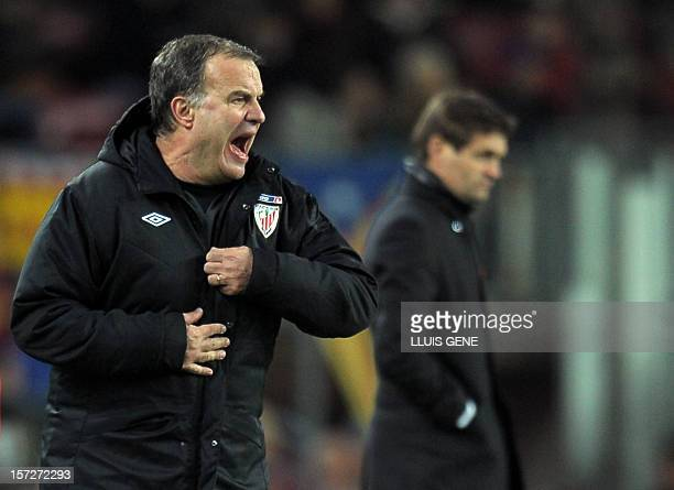 Athletic Bilbao's coach Marcelo Bielsa reacts during the Spanish league football match FC Barcelona vs Athletic Bilbao at the Camp Nou stadium in...