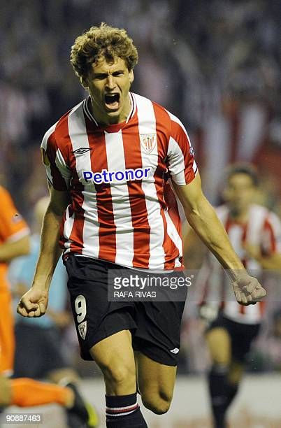 Athletic Bilbao's Fernando Llorente celebrates after scoring against FK Austria Wien during a UEFA Europa League football match on September 17 at...