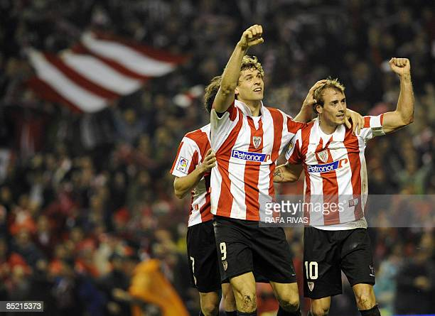 Athletic Bilbao's Fernando Llorente celebrates with teammate Fran Yeste after scoring against Sevilla during their Spanish King's Cup semifinal match...