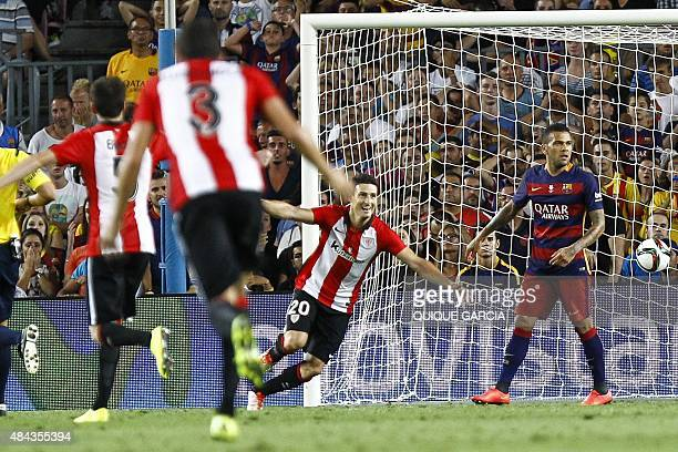 Athletic Bilbao's forward Aritz Aduriz celebrates after scoring a goal during the Spanish Supercup secondleg football match FC Barcelona vs Athletic...