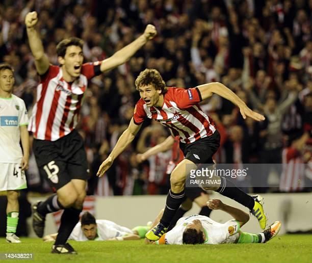 Athletic Bilbao's forward Fernando Llorente celebrates after scoring during the UEFA Europa League second leg semifinal football match Athletic...