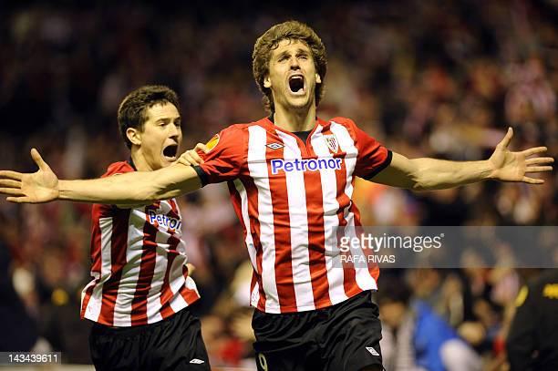 Athletic Bilbao's forward Fernando Llorente celebrates after scoring his team's third goal during the UEFA Europa League second leg semifinal...