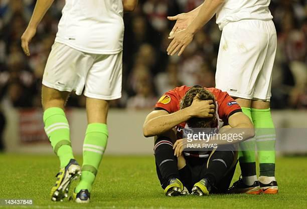 Athletic Bilbao's forward Fernando Llorente reacts after missing a goal opportunity during the UEFA Europa League second leg semifinal football match...