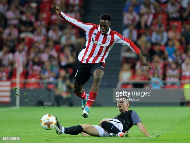 Athletic Bilbao's forward from Spain Inaki Williams vies with Zorya Louhansk's midfielder from Ukraine Maksym Lunov during the UEFA Europa league...