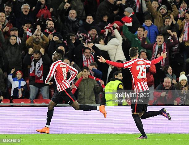 Athletic Bilbao's forward Inaki Williams Arthur celebrates after scoring his team's second goal during the Spanish Copa del Rey round of 16 first leg...