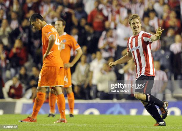 Athletic Bilbao's Iker Muniain celebrates after scoring his team's third goal against FK Austria Wien during a UEFA Europa League football match on...