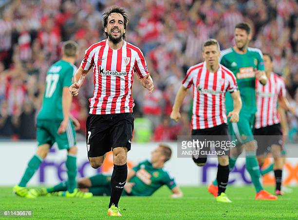 Athletic Bilbao's midfielder Benat Etxebarria celebrates after scoring his team's first goal during the Europa League Group F football match Athletic...