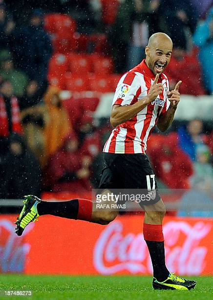 Athletic Bilbao's midfielder Mikel Rico celebrates after scoring during the Spanish league football match Athletic Club Bilbao vs Levante at the San...