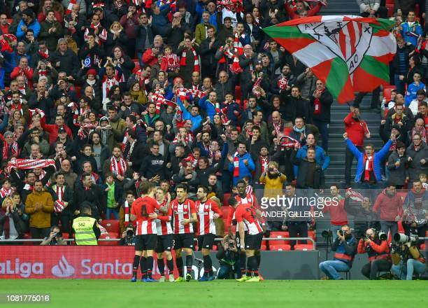 Athletic Bilbao's players celebrate after Athletic Bilbao's Spanish forward Inaki Williams scored a goal during the Spanish League football match...