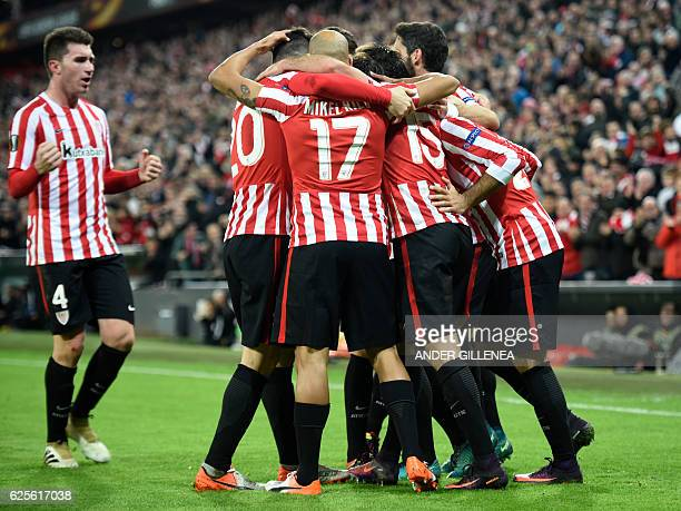 Athletic Bilbao's players celebrate third goal during the Europa League Group F football match Athletic Club de Bilbao vs US Sassuolo Calcio at the...