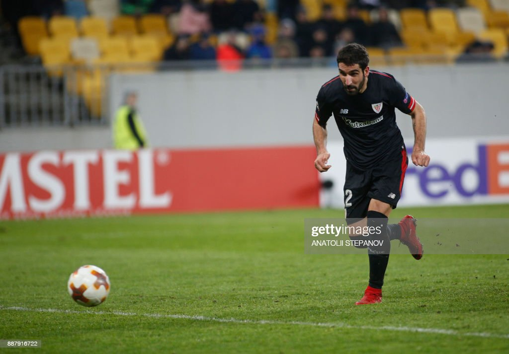 Athletic Bilbao's Raul Garcia runs on his way to scoring a goal during the UEFA Europa League Group J football match between Zorya Luhansk and Athletic Bilbao in Lviv on December 7, 2017. /