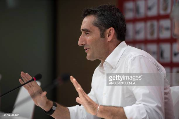 Athletic Bilbao's Spanish coach Ernesto Valverde gestures during a press conference held to announce that he was quitting the football club in Bilbao...