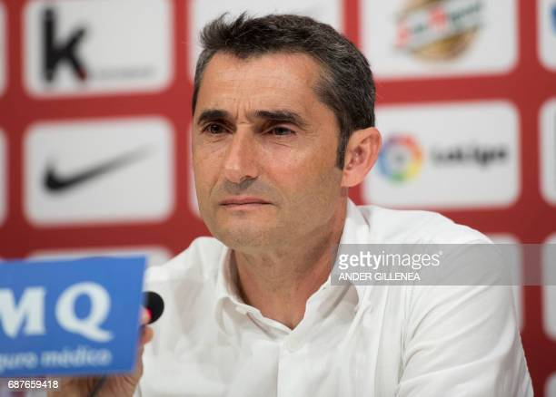 Athletic Bilbao's Spanish coach Ernesto Valverde looks on during a press conference held to announce that he was quitting the football club in Bilbao...