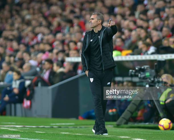 Athletic Bilbao's Spanish coach Gaizka Garitano gives instructions to his players during the Spanish league football match Athletic Club Bilbao...