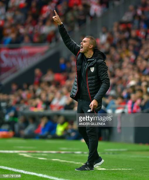 Athletic Bilbao's Spanish coach Gaizka Garitano shouts instructions to his players during the Spanish League football match between Athletic Club...