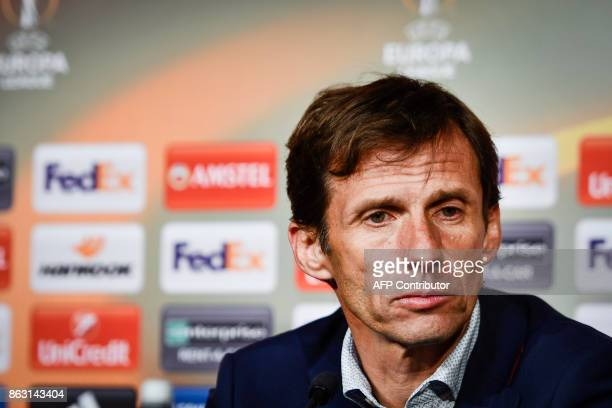 Athletic Bilbao's Spanish coach Jose Angel Ziganda attends a press conference after the UEFA Europa League group F fotball match Ostersund v Athletic...