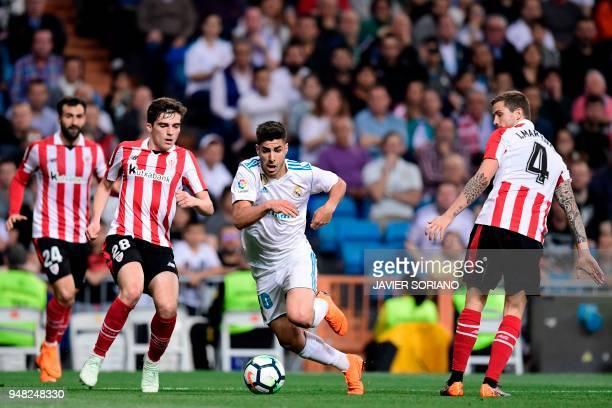 Athletic Bilbao's Spanish defender Mikel Balenciaga Athletic Bilbao's Spanish midfielder Inigo Cordoba and Athletic Bilbao's Spanish defender Inigo...