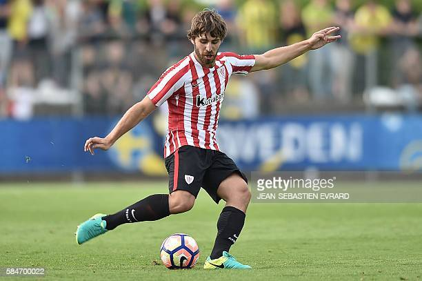 Athletic Bilbao's Spanish defender Yeray Alvarez kicks the ball during the friendly football match between Nantes and Athletic Bilbao on July 30 2016...