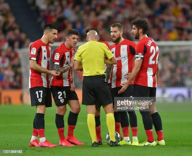 Athletic Bilbao's Spanish defender Yuri Berchiche Athletic Bilbao's Spanish defender Ander Capa Athletic Bilbao's Spanish midfielder Unai Vencedor...