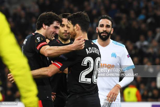 Athletic Bilbao's Spanish forward Aritz Aduriz celebrates after scoring a goal by penalty during the UEFA Europa League football match between...