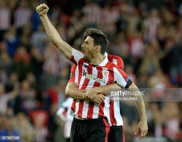 Athletic Bilbao's Spanish forward Aritz Aduriz celebrates after scoring his team's first goal during the Europa League football match Athletic Club...