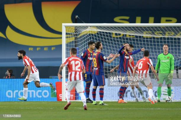 Athletic Bilbao's Spanish forward Asier Villalibre celebrates his goal during the Spanish Super Cup final football match between FC Barcelona and...