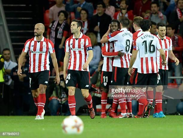 Athletic Bilbao's Spanish forward Inaki Williams celebrates a goal with teammates during the Europa League football match Athletic Club Bilbao vs...