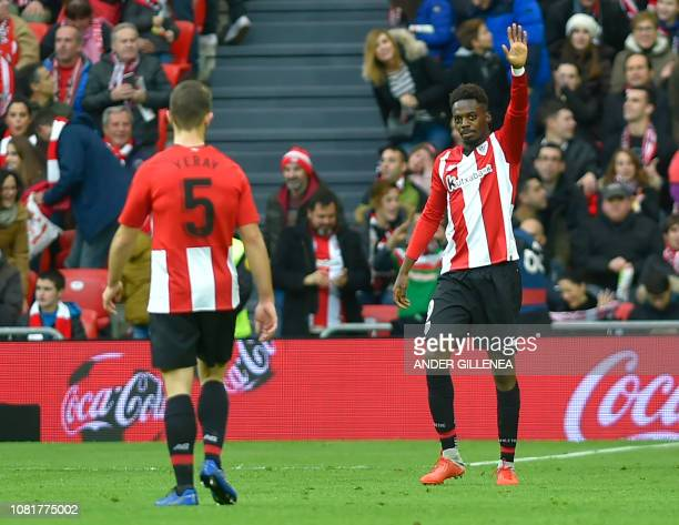 Athletic Bilbao's Spanish forward Inaki Williams celebrates after scoring a goal during the Spanish League football match between Athletic Club...