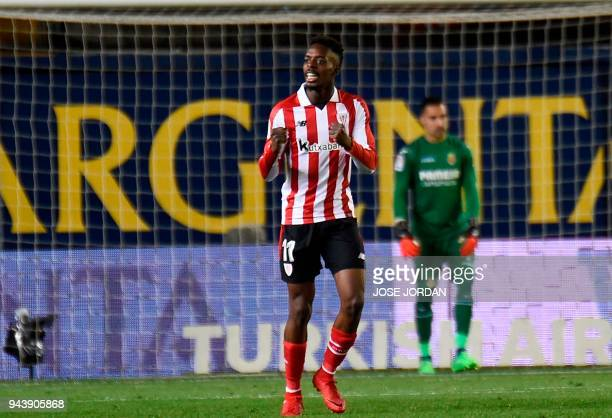 Athletic Bilbao's Spanish forward Inaki Williams celebrates after scoring during the Spanish league football match between Villarreal CF and Athletic...