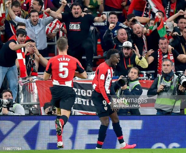 Athletic Bilbao's Spanish forward Inaki Williams celebrates his goal during the Spanish Copa del Rey quarter-final football match Athletic Club...