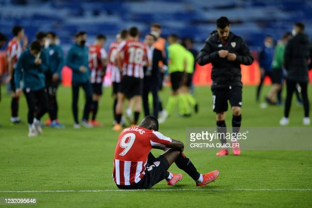 Athletic Bilbao's Spanish forward Inaki Williams reacts at the end of the 2020 Spanish Copa del Rey final football match between Athletic Bilbao and...