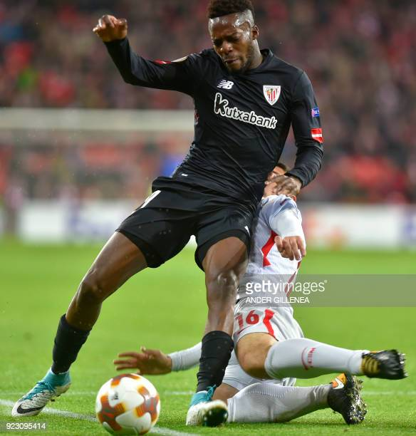 Athletic Bilbao's Spanish forward Inaki Williams vies with FC Spartak Moscow's Italian defender Salvatore Bocchetti during the Europa League Round of...