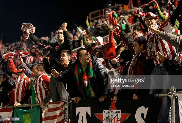 Athletic Bilbao's supporters celebrate after Athletic Bilbao's forward Fernando Llorente scored during the Spanish cup semifinal match Mirandes vs...