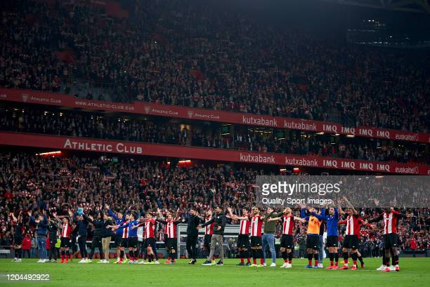Athletic Club de Bilbao players celebrate after winning during the Copa del Rey Quarter Final match between Athletic Club de Bilbao and FC Barcelona...