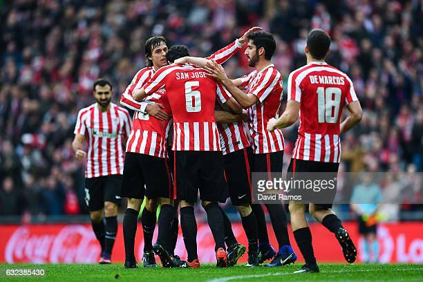 Athletic Club players celebrate after Inigo Lekue of Athletic Club scored his team's first goal during the La Liga match between Athletic Club and...