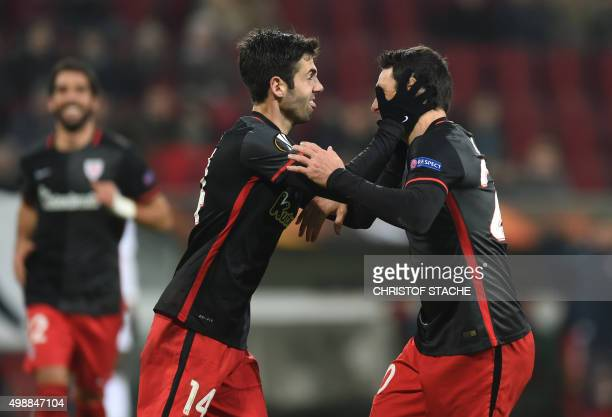 Athletic Club's midfielder Markel Susaeta and striker Aritz Aduriz celebrate after the second goal during the UEFA Europa League football match FC...