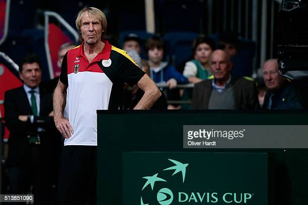 Athletic coach Carlo Traenhardt of Germany during Day 1 of the Davis Cup World Group first round between Germany and Czech Republic at TUI Arena on...