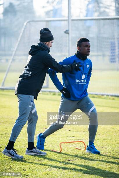 Athletic coach Hendrik Vieth and Jhon Cordoba of Hertha BSC during the training session at Schenckendorffplatz on January 26, 2021 in Berlin, Germany.